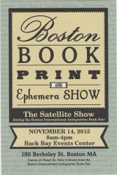 Boston Book, Print and Ephemera Show!