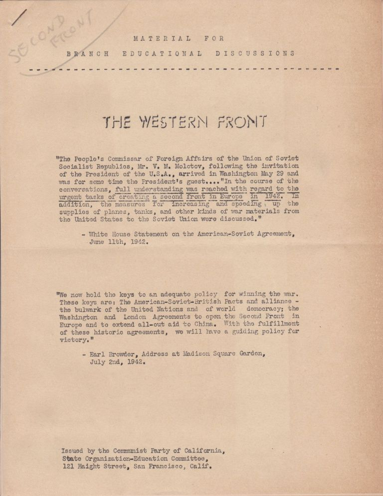 The Western Front: Material for Branch Educational Discussions. Communist Party of California.