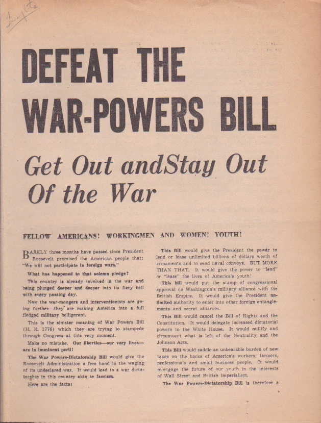 Defeat the War-Powers Bill: Get Out and Stay Out of the War. U. S. A. Communist Party.