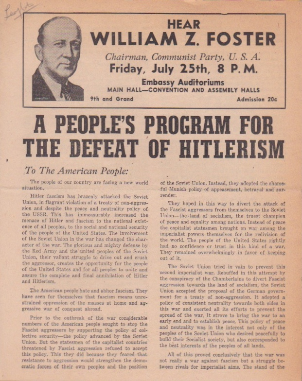A People's Program for the Defeat of Hitlerism. U. S. A. Communist Party.