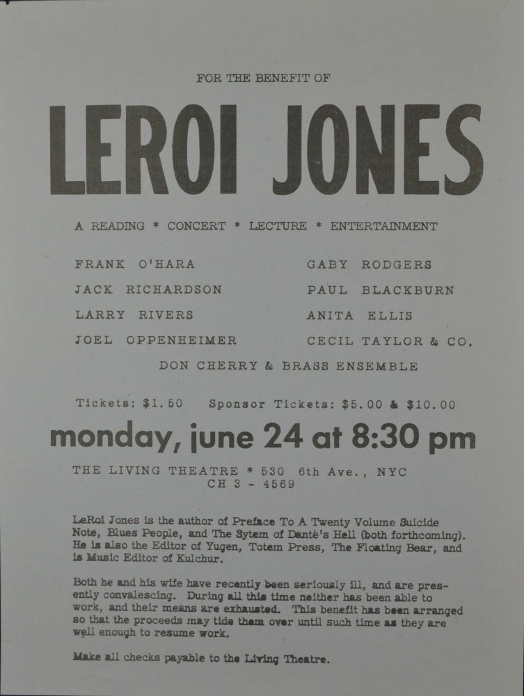 For the Benefit of LeRoi Jones [Amiri Baraka]. The Living Theatre.