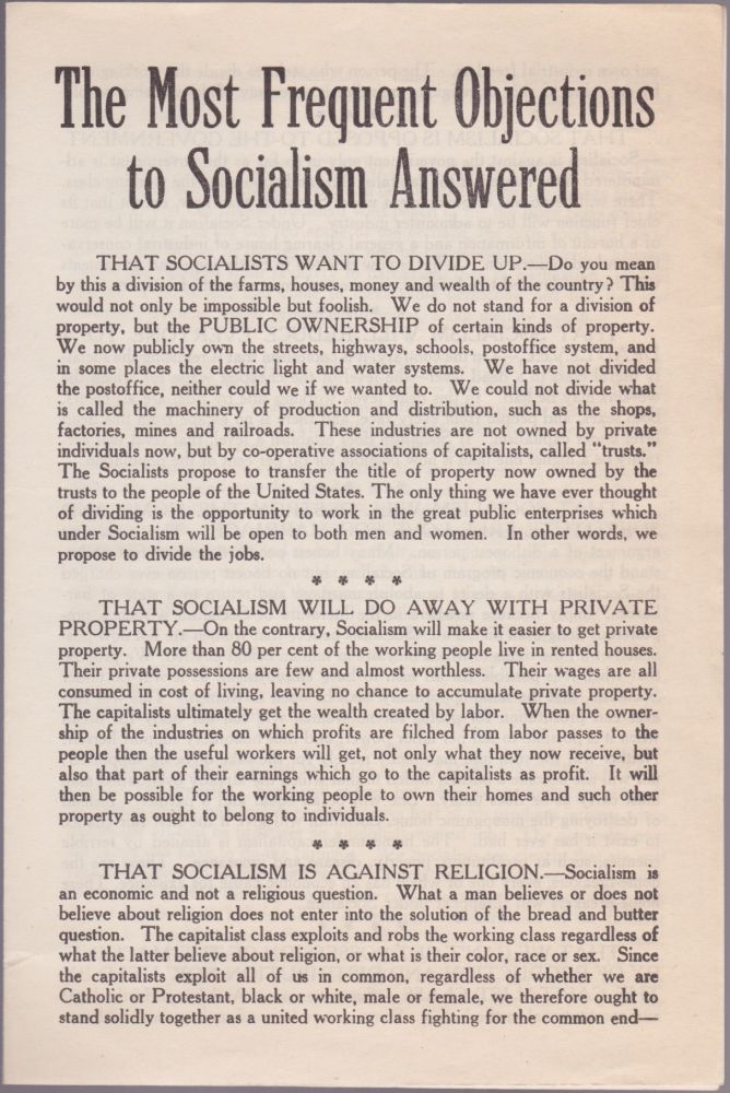 The Most Frequent Objections to Socialism Answered. Socialist Party of America.