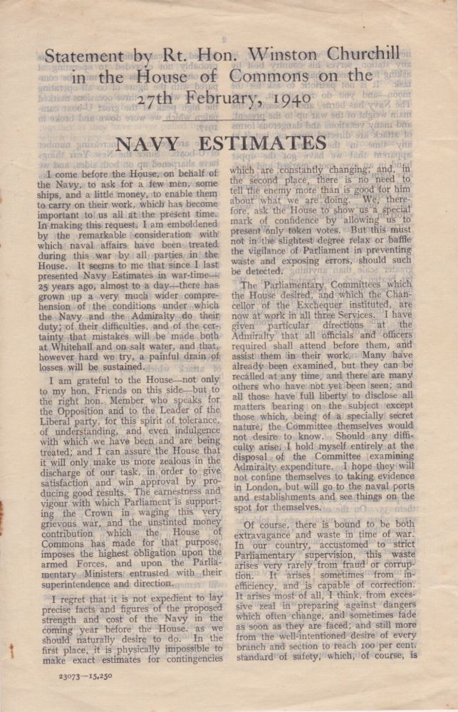 Statement by Rt. Hon. Winston Churchill in the House of Commons on the 27th February, 1940: Navy Estimates. Winston Churchill.