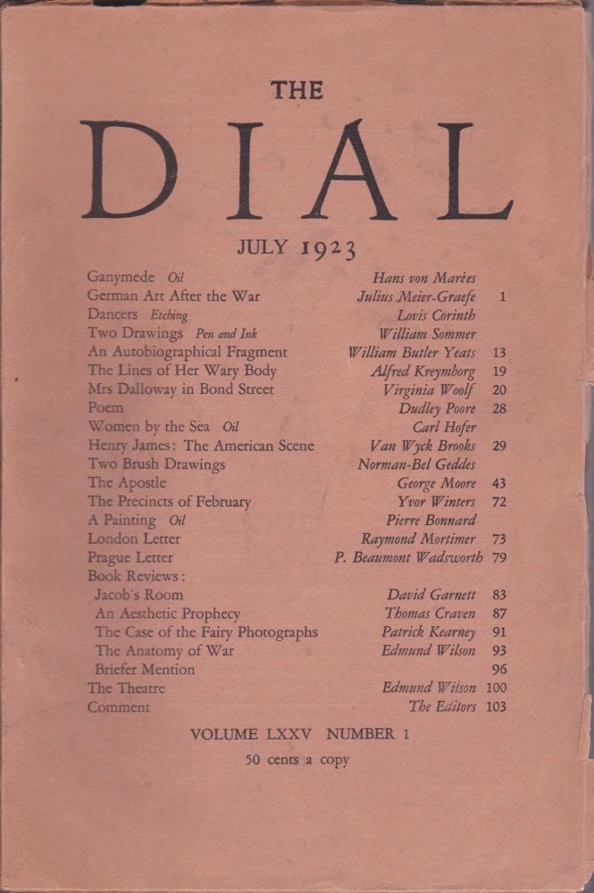 Mrs. Dalloway in Bond Street, published in THE DIAL (Volume LXXV-No. 1, July 1923). Virginia Woolf.