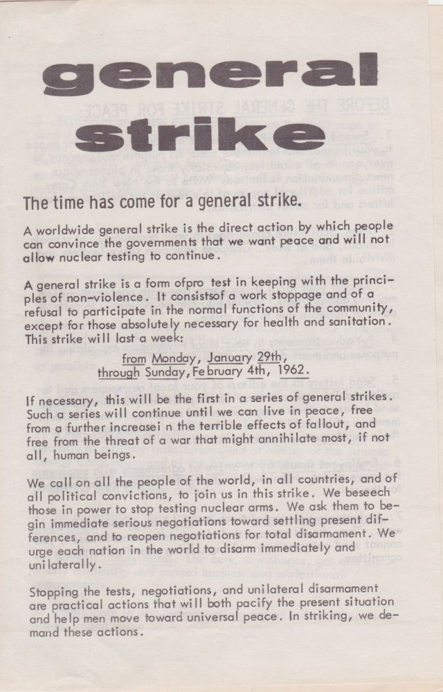 Collection of Ephemera on the General Strike for Peace. General Strike for Peace, Jackson Mac Low.
