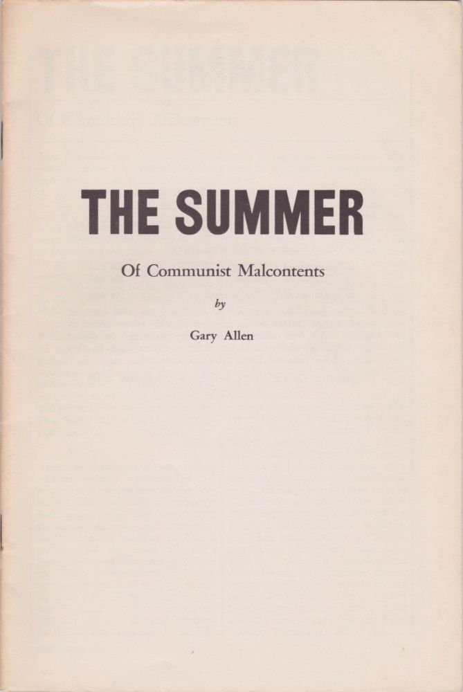 The Summer of Communist Malcontents. Gary Allen.