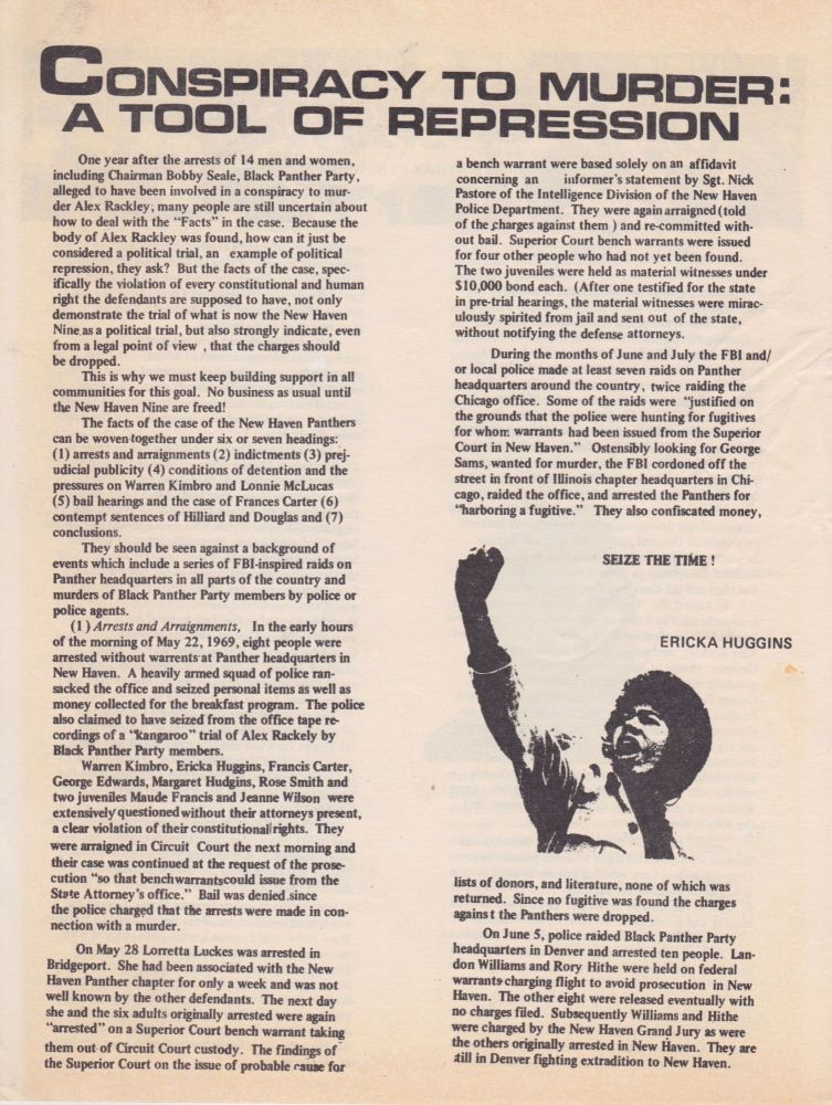 Conspiracy to Murder: A Tool of Repression. Black Panthers.