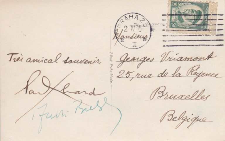 A Postcard Signed by Both Surrealists. Paul Éluard, André Breton.