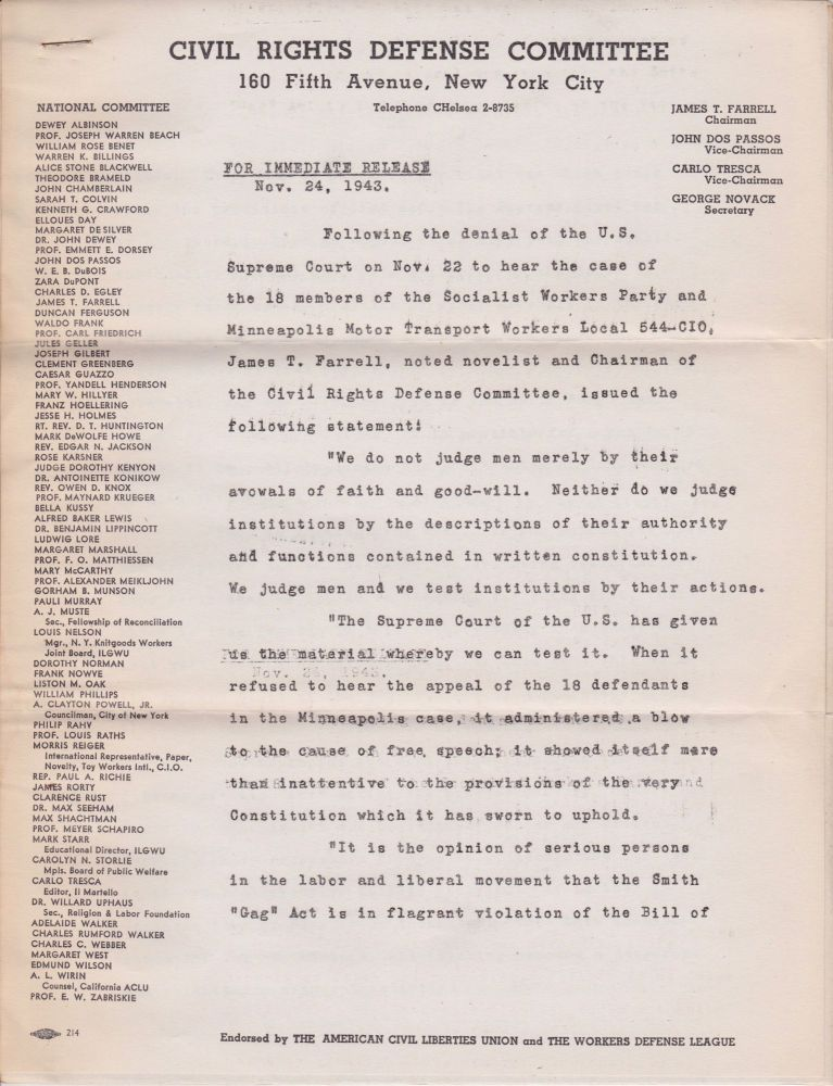 [Press release of November 24, 1943, on Supreme Court's refusal to hear appeal of 18 Minnesota leftists found guilty of advocating overthrow of government]. James T. Farrell.