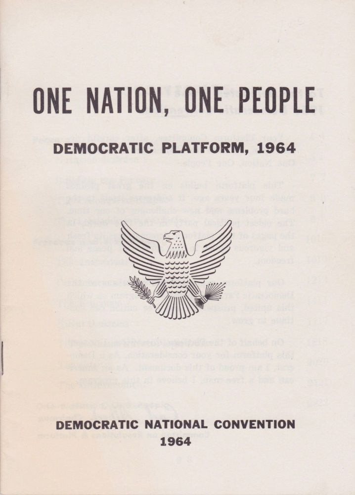 One Nation, One People: Democratic Platform, 1964. Carl Albert.