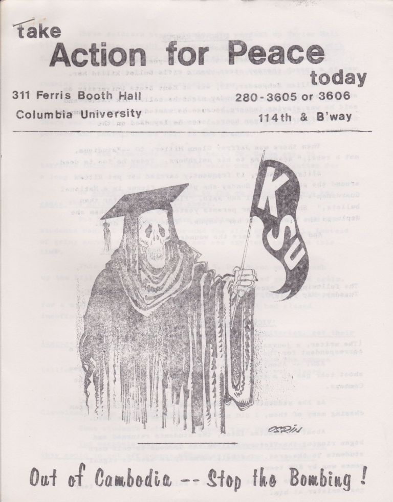 [Columbia University] Seven Anti-Vietnam War Leaflets, Many Related to Columbia [1968-70]. Authors.