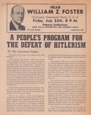 A People's Program for the Defeat of Hitlerism. U. S. A. Communist Party
