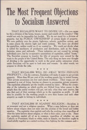 The Most Frequent Objections to Socialism Answered. Socialist Party of America