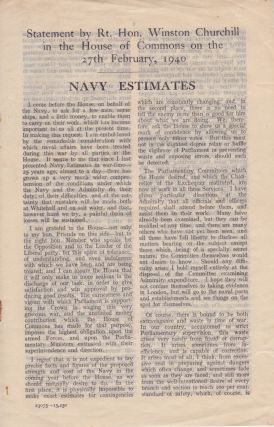 Statement by Rt. Hon. Winston Churchill in the House of Commons on the 27th February, 1940: Navy...