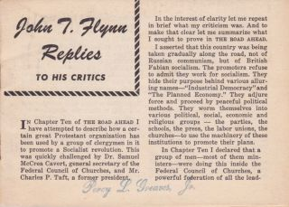 John T. Flynn Replies to His Critics. John T. Flynn