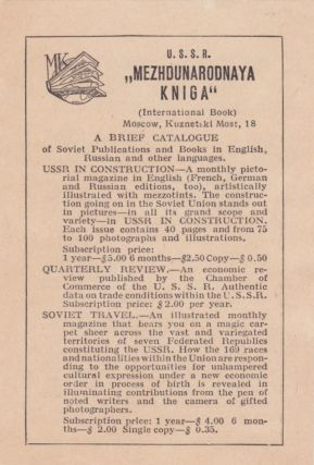A Brief Catalogue of Soviet Publications and Books in English, Russian and Other Languages....