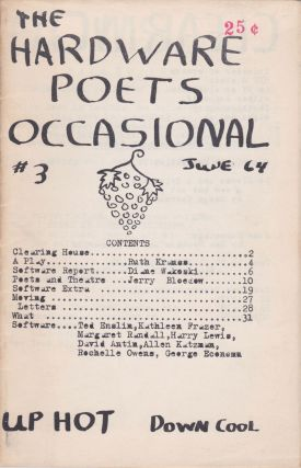 The Hardware Poets Occasional [#3, June 1964]. Jerry Bloedow, Diane Wakoski