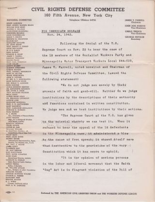 Press release of November 24, 1943, on Supreme Court's refusal to hear appeal of 18 Minnesota...
