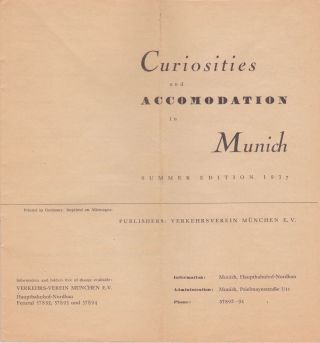 Curiosities and Accomodation in Munich. Nazi Germany