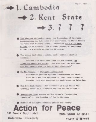 [Columbia University] Seven Anti-Vietnam War Leaflets, Many Related to Columbia [1968-70]