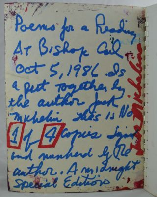 Poems for a Reading at Bishop, California, Oct 5, 1986